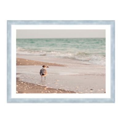 Seagull Standing in Ocean on Beach Medium Photographed Framed Print Wall Art