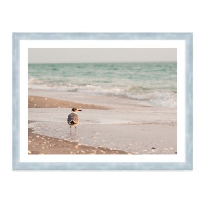 Seagull Standing in Ocean on Beach Large Photographed Framed Print Wall Art