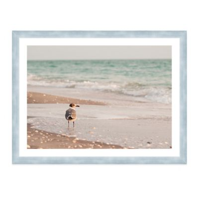 Seagull Standing in Ocean on Beach Extra-Large Photographed Framed Print Wall Art
