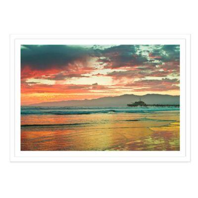 Fiery Sunset Over Santa Monica Beach Medium Photographed Framed Print Wall Art