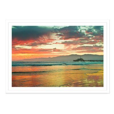 Fiery Sunset Over Santa Monica Beach Large Photographed Framed Print Wall Art