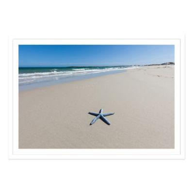 Blue Starfish on a Beach, South Australia Medium Photographed Framed Print Wall Art