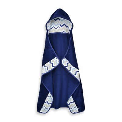 Just Born® Boy's Navy Chevron Hooded Bath Towel Wrap in White/Blue