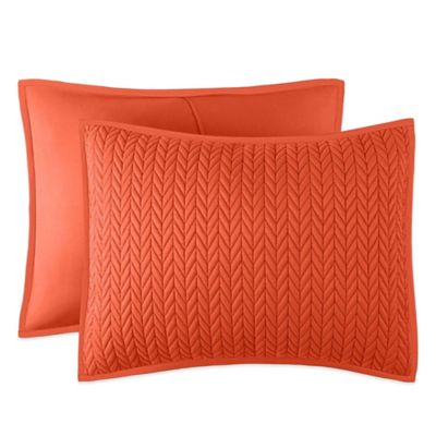 J by J. Queen New York Camden Quilted Standard Pillow Sham in Orange