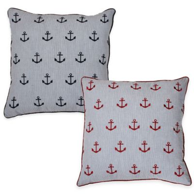 Thro Astor Anchor Seersucker Square Throw Pillow in Navy
