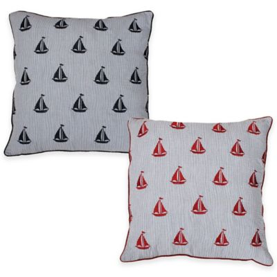 Thro Sloane Sailboat Seersucker Square Throw Pillow in Navy/Red