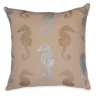 Thro Metallic Seahorse Square Throw Pillow in Silver/Gold