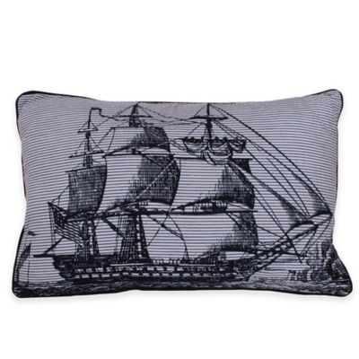Thro Shandon Sailboat Seersucker Oblong Throw Pillow in Navy