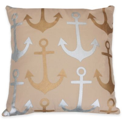 Thro Astor Anchor Seersucker Square Throw Pillow in Silver