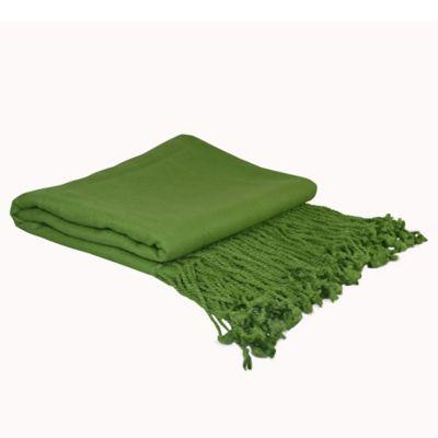 PUR Cashmere Velvet Throw in Parrot Green