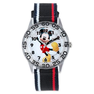 Disney® Mickey Mouse 32mm Wrist Watch in Plastic with Black Nylon Strap