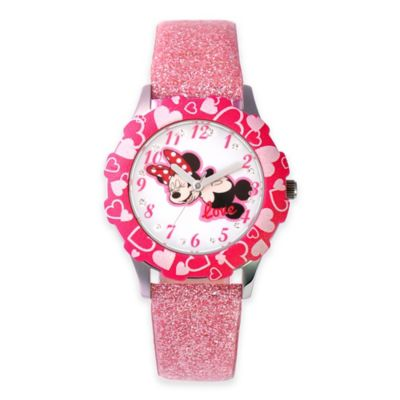 Disney® Minnie Mouse Children's 32mm Watch in Stainless Steel with Pink Glitter Strap