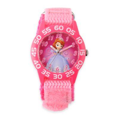 Disney® Sofia Children's 32mm Time Teacher Watch with Pink Nylon Strap