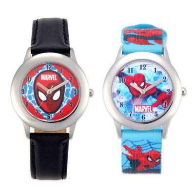 Marvel Spider-Man Children's 32mm Watch in Stainless Steel with Blue Printed Strap