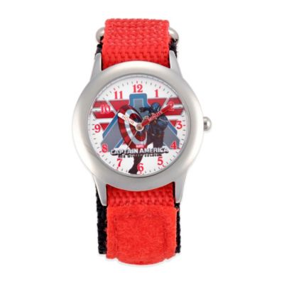 Stainless Steel with Red Nylon Strap