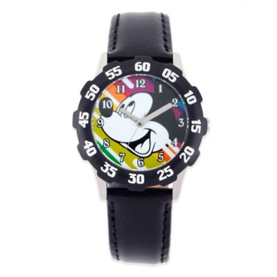 Disney® Mickey Children's 32mm Time Teacher Watch with Black Leather Strap