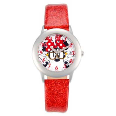 Disney® Minnie Mouse Children's 32mm Watch in Stainless Steel with Red Glitter Strap
