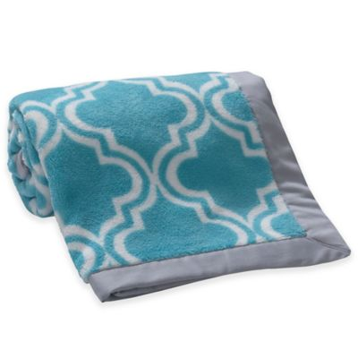 Lambs & Ivy® Mix & Match Moroccan Coral Fleece Blanket in Teal