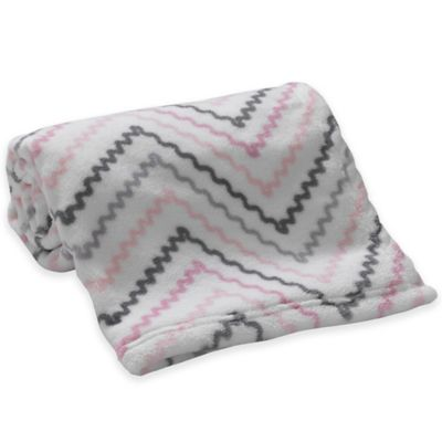 Lambs & Ivy® Mix & Match Chevron Coral Fleece Blanket in Pink/Grey