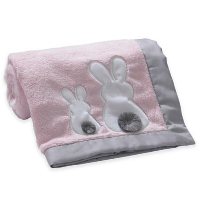 Lambs & Ivy® Mix & Match Bunny Applique Blanket in Pink/Grey