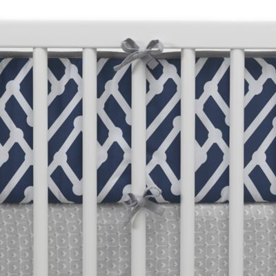 Lambs & Ivy® Mix & Match Jensen 4-Piece Perfect Fit® Reversible Crib Bumper Set in Navy