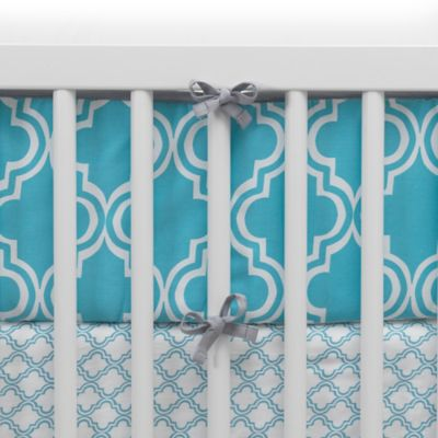 Lambs & Ivy® Mix & Match Ryan 4-Piece Perfect Fit® Reversible Crib Bumper Set in Teal