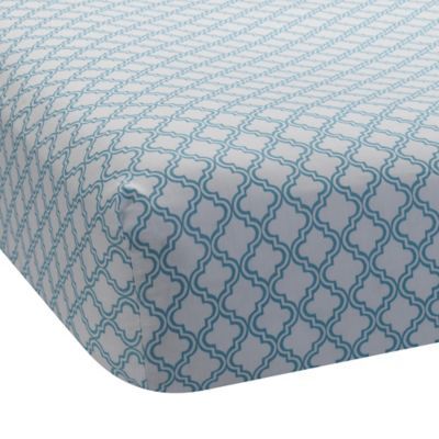 Lambs & Ivy® Mix & Match Ryan Lattice Print Fitted Crib Sheet in Teal
