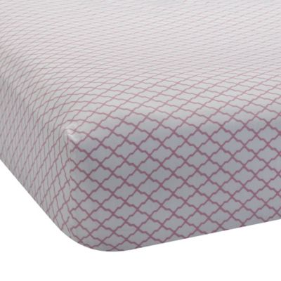 Lambs & Ivy® Mix & Match Bunny Lattice Print Fitted Crib Sheet in Pink