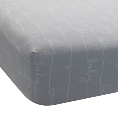 Lambs & Ivy® Mix & Match Bunny Script Print Fitted Crib Sheet in Grey