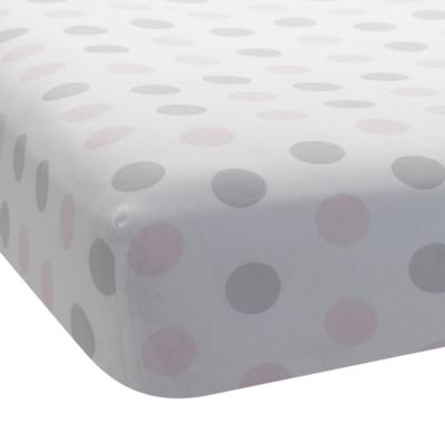 Lambs & Ivy® Mix & Match Bunny Polka Dot Fitted Crib Sheet in Pink/Grey