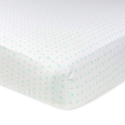 Just Born® Mix & Match Safe Sleep Emma Fitted Crib Sheet in Bleached Aqua