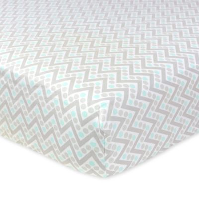 Just Born® Mix & Match Safe Sleep Chevron Fitted Crib Sheet in Bleached Aqua