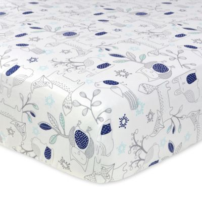 Just Born® Mix & Match Safe Sleep Woodland Animals Fitted Crib Sheet in Navy