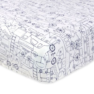 Just Born® Mix & Match Safe Sleep Transit Fitted Crib Sheet in Navy
