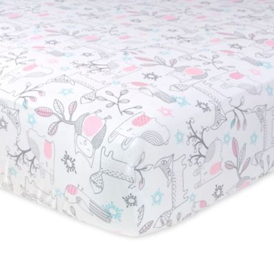Just Born® Mix & Match Safe Sleep Woodland Animals Fitted Crib Sheet in Pink