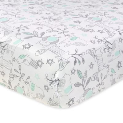 Just Born® Mix & Match Safe Sleep Woodland Animals Fitted Crib Sheet in Aqua