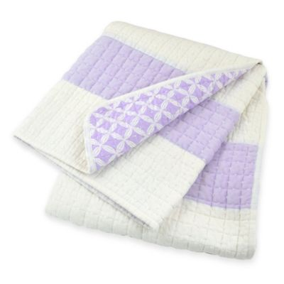 Just Born® Mix & Match Safe Sleep Awning Stripe Reversible Quilt in Lilac Shimmer