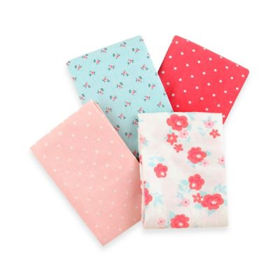 Carter's® Girls' 4-Pack Floral Flannel Receiving Blankets