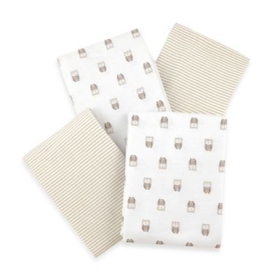 Carter's® 4-Pack Owls and Stripes Flannel Receiving Blanket