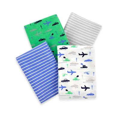 Carter's® Boys' 4-Pack Stripes and Transportation Flannel Receiving Blanket