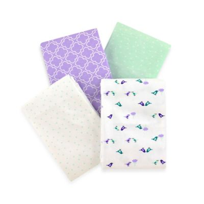Carter's® Girls' 4-Pack Lavender Bird Flannel Receiving Blanket