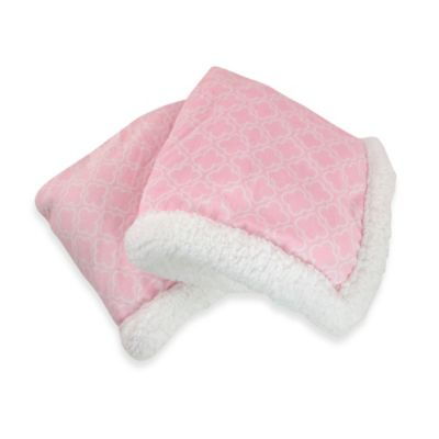 Carter's® Girls' Quatrefoil Plush Receiving Blanket in Pink/White