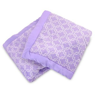 Carter's® Girls' Trellis Plush Receiving Blanket in Lavender/White