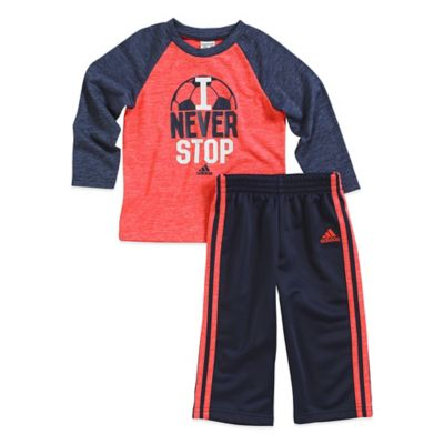 "adidas® Size 6M 2-Piece ""I Never Stop"" Long Sleeve Top and Pant Set in Navy/Red"