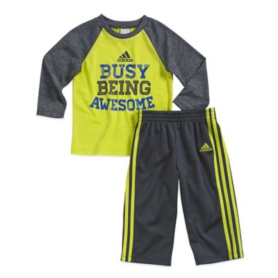 "adidas® Size 3M 2-Piece ""Busy Being Awesome"" Long Sleeve Top and Pant Set in Grey/Yellow"