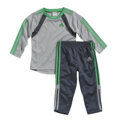 adidas® Size 3M 2-Piece Goal Keeper Shirt and Pant Set in Grey/Black
