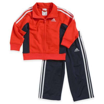 adidas® Size 24M 2-Piece Impact Tricot Tracksuit Set in Red/Black