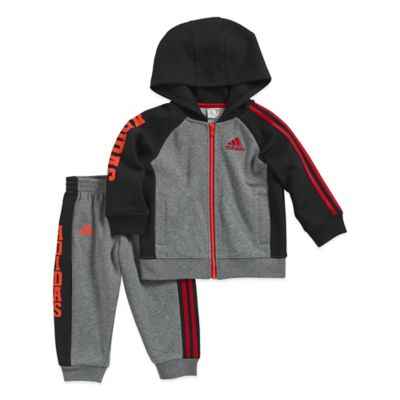 adidas® Size 3M 2-Piece Team Fleece Jacket and Pant Set in Grey/Red