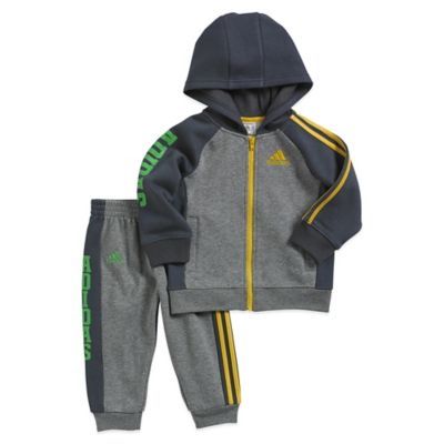 adidas® Size 3M 2-Piece Fleece Track Suit Set in Grey/Yellow