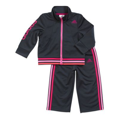 adidas® Size 3M 2-Piece Tumble Tracksuit Set in Pink/Black